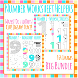 Numbers Worksheet Helper Clip Art Bundle - 164 IMAGES! Commercial Use
