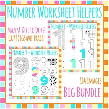 Numbers Worksheet Helper Clip Art Bundle - 164 IMAGES! Com