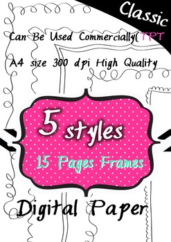 Clipart 300pdi 5style #5  digital paper 15 png images
