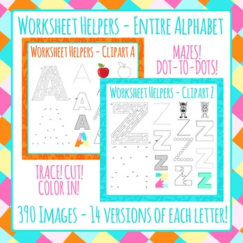 Alphabet Worksheet Helper Clip Art Bundle - 390 IMAGES! - Commercial Use by Hidesy's Clipart
