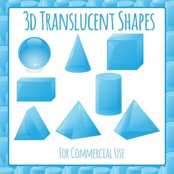 3D Shapes - Translucent Commercial Use Clip Art Set
