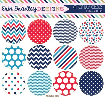 Clipart - 4th of July Circle Frame Holiday Graphics