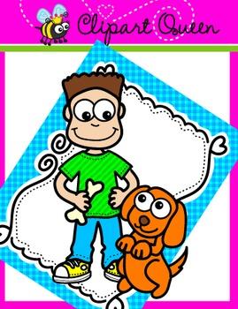FREE Clipart: A Boy & His Puppy