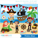 Boy Pirates Clipart, Mermaid, Pirate ship, Treasure (Background included!)