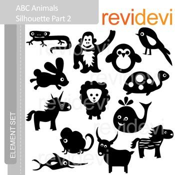 Clipart ABC Animals Silhouette Part 2 - Alphabet a to z - clip art E049