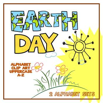 Alphabet Letters Clipart: Earth Day and Sunshine Letter Sets (Uppercase A-Z)