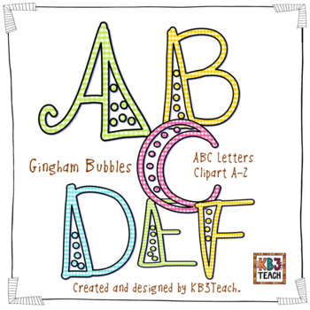 Alphabet Letters Clipart: Fancy Gingham Bubbles (Uppercase & Lowercase A-Z)