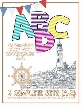 Alphabet Letters Clipart: Nautical Pinstripes 4 Color Sets (Uppercase A-Z)