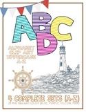Alphabet Letters Clipart: Nautical Pinstripes 4 Color Sets