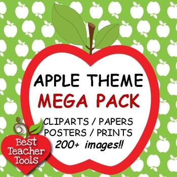 Clipart, APPLE THEME MEGA PACK Clip art, Digital Papers Posters, AMB-104