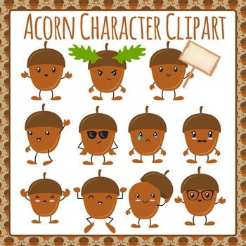 Acorn Character Emotions Clip Art Pack for Commercial Use