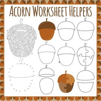 Acorn Worksheet Helper Clip Art Pack for Commercial Use