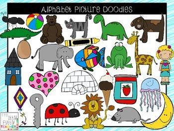 Clipart - Alphabet Picture Doodles - 104 Images