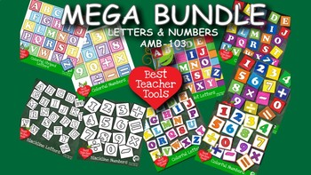 Clipart, Alphabets and Numbers Block MEGA PACK Colors and Blackline, AMB-103