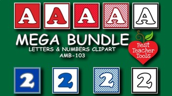 Clipart, Alphabets and Numbers Block MEGA PACK Colors and