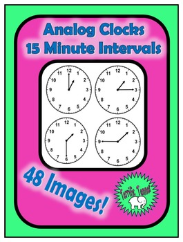 Analog Clocks to 15 Minute Intervals Clipart