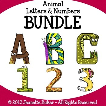 Animal Letters & Numbers Clip Art Bundle by Jeanette Baker