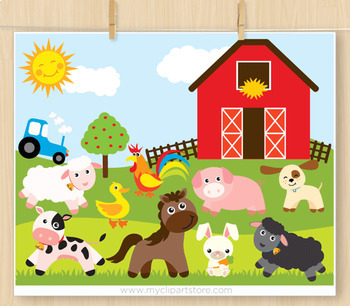 Clipart - Animals at the Farm / Farmer and the dell / nursery rhymes