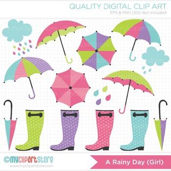 Clipart - April Showers / Rainy Day (Girl) / Seasons