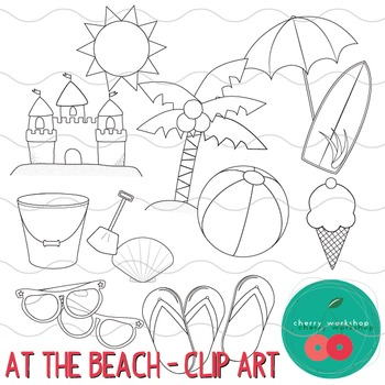 Summer Clip Art - At the Beach-UPDATED-{Commercial Use}
