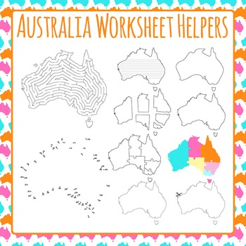 Australia Worksheet Helpers Clip Art Pack for Commercial Use