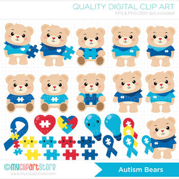 Clipart - Autism Awareness Bears