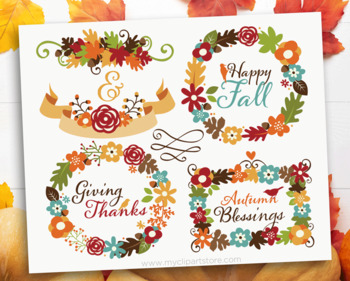 Clipart - Autumn / Fall Wreaths and Laurels / Thanksgiving flowers