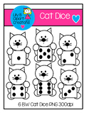Clipart - BW Cat Dice