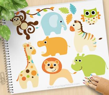 Clipart - Baby Animals (Boy) / jungle animals (blue)