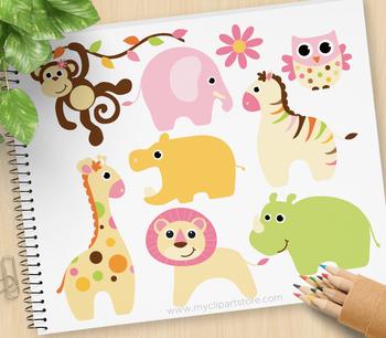 Clipart - Baby Animals (girl) / jungle animals (pink)