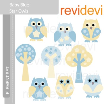 Clipart Baby Blue Star Owls - cute owl clip art