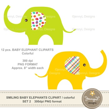 Clipart: Baby Elephant Colorful Brights Colors