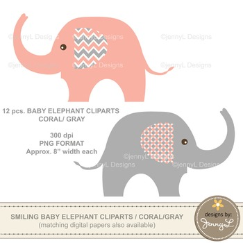 Clipart: Baby Elephant, Coral and Gray Colors