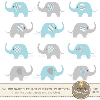 Clipart: Baby Elephant, Blue and Gray Colors