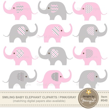 Clipart: Baby Elephant, Light Pink and Gray Colors