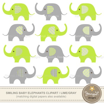 Baby Elephant, Lime Green and Gray Clipart