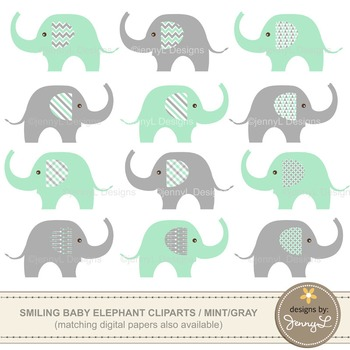 Clipart: Baby Elephant, Mint Green and Gray Colors