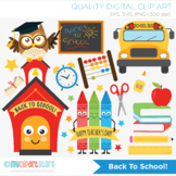 Back To School Clipart, Owl, School House, Bus