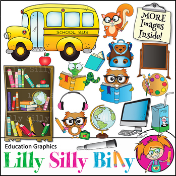 Clipart Back  to School Stuff BLACK AND WHITE & Color Bundle