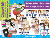 Clipart-Back to private school (girls)/ Retour école privé