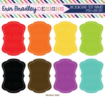 Clipart - Background Text Frames Digital Tag Graphics Rainbow Colors