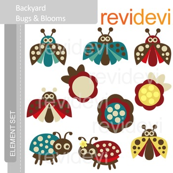 Clipart Backyard Bugs and Blooms E013 (ladybugs, flowers)
