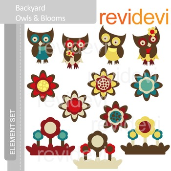 Flowers and owls clip art