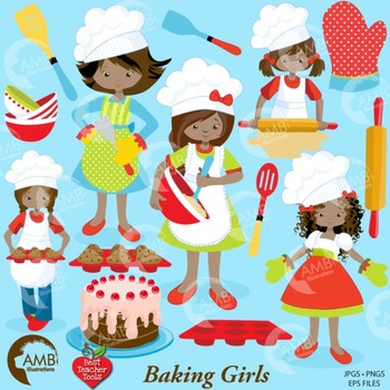 Clipart, Baking Day Clip art, African American, Digital Download  AMB-1135