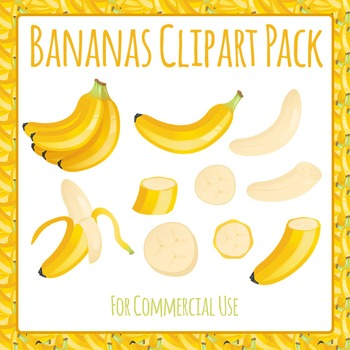 Banana Fruit Food Clip Art Pack for Commercial Use