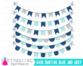 Clipart Banner, Blue Theme Digital Bunting, Blue and Gray D438