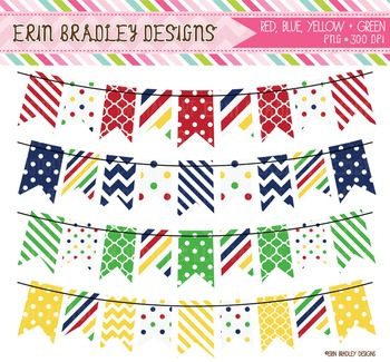 Clipart - Banners in Red Blue Green & Yellow