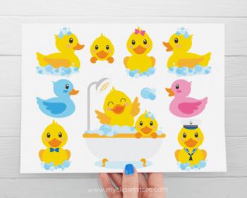 Clipart - Bath Time Ducky, Ducks, Duckling, Rubber Ducky