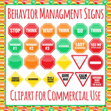 Behavior Management Signs Clip Art Pack for Commercial Use