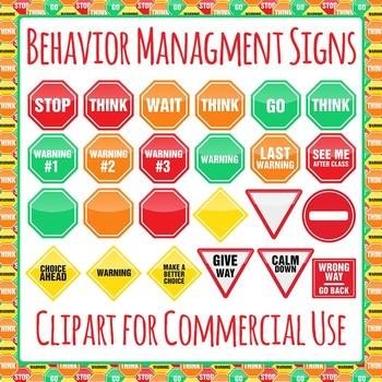 Behavior Management Signs Clip Art Pack for Commercial Use